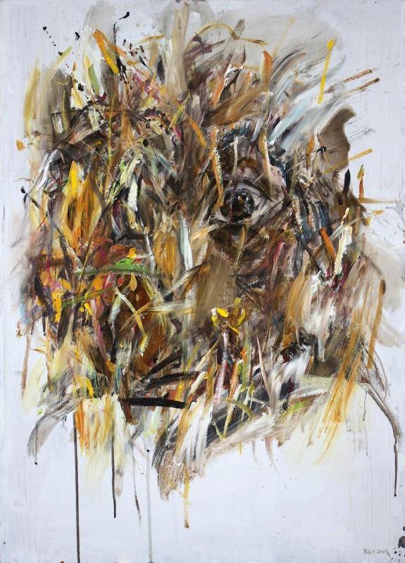Anointing 2015 acrylic oil charcoal on board 105x75cm