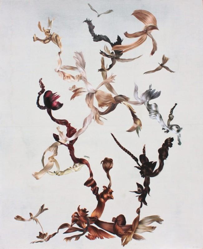 Asetelma 2014 kollaasi ja akryyli vanerille 151x123cm