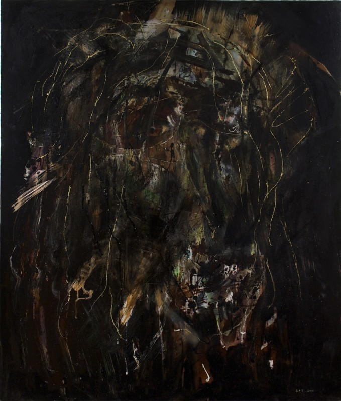 Layers of Man 2015 oil acrylic spray goldleaf on board 97x82cm